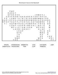 Word Search: Sunset of the Sabertooth Worksheet