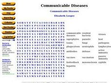 Communicable Diseases Word Puzzle Worksheet