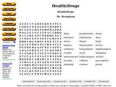 Health/Drugs Word Puzzle Worksheet