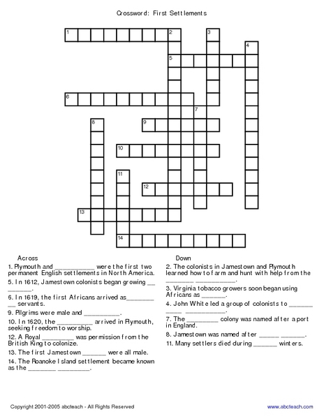 Colonial America Crossword Lesson Plans Worksheets