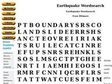 Earthquake Wordsearch Worksheet