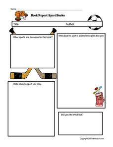 Book Report:  Sport Books Worksheet