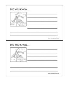 Volcano Fact Cards Worksheet