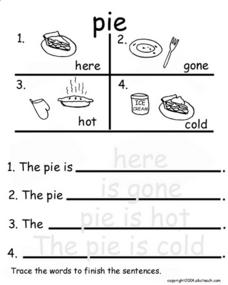 Pie (Traced Answers) Worksheet