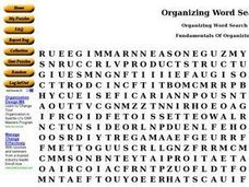 Organization Matrix Word Search Worksheet