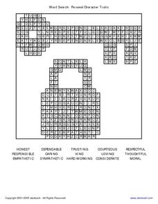Word Search: Personal Character Traits Worksheet