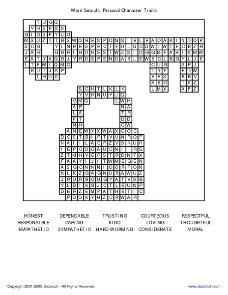 Word Search: Personal Character Traits Worksheet for 2nd