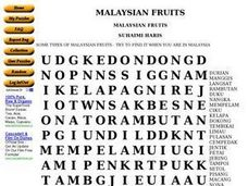 Malaysian Fruits Worksheet