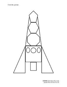 Space Ship Coloring Page Worksheet