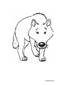 Wolf Coloring Page Worksheet