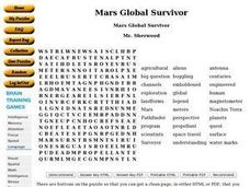 Mars Global Survivor Word Puzzle Worksheet