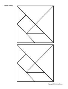 Tangram Patterns --  Smaller Puzzle Pieces Worksheet