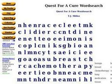 Quest For A Cure Wordsearch Worksheet