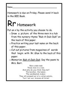 Homework for the Letter R Worksheet