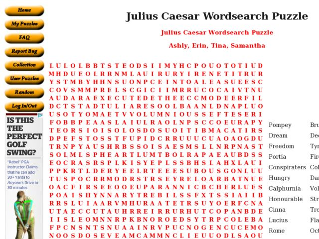 Julius Caesar Wordsearch Puzzle Worksheet For 9th 12th