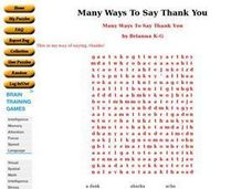 Many Ways To Say Thank You Worksheet