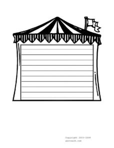 Carnival Tent Writing Paper Worksheet
