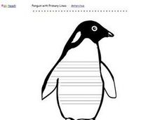 Penguin With Primary Lines Printables & Template