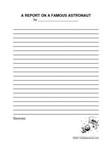 Famous Astronaut Report Worksheet
