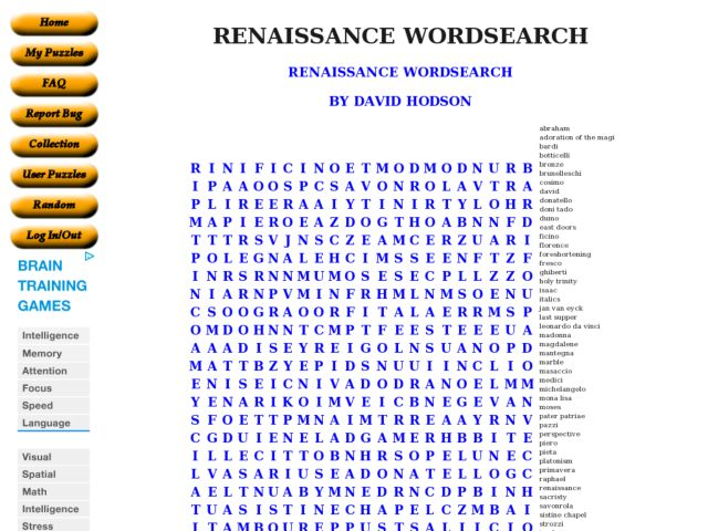 Renaissance Word Search 10th 11th Grade Worksheet – Renaissance Worksheet