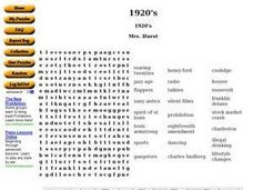 1920's Word Search Worksheet