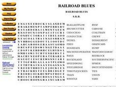 Railroad Blues Word Search Worksheet