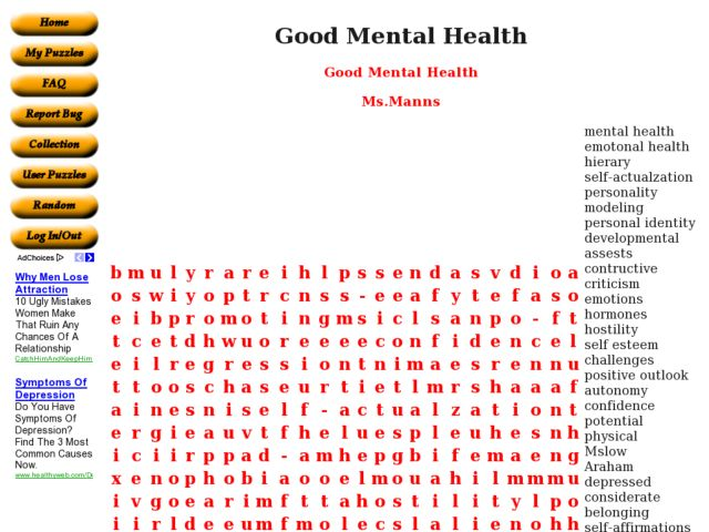 Good Mental Health Word Search Worksheet for 10th - 11th Grade