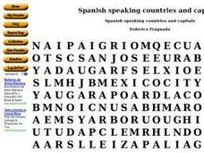 Spanish Speaking Countries and Capitals Word Search Worksheet