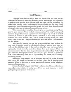 Good Manners Lesson Plans  Worksheets Reviewed by Teachers