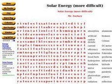 Solar Energy Word Search Worksheet
