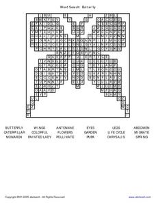 Word Search: Butterfly Worksheet