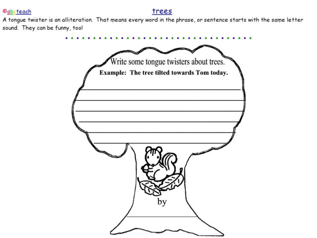 All Worksheets alliteration worksheets : Tree Alliteration 3rd - 4th Grade Worksheet | Lesson Planet