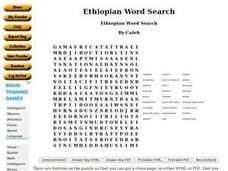 Ethiopian Word Search Worksheet