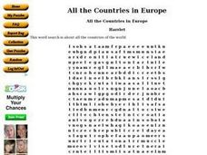All the Countries in Europe Worksheet