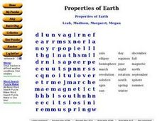 Properties of Earth: Word Search Worksheet