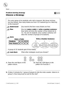 Choose a Strategy Worksheet