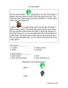 It is the Earth! Worksheet