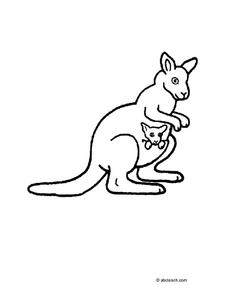 Kangaroo with Dog in Pouch Worksheet