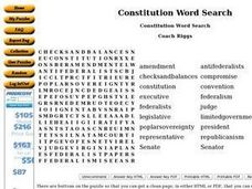 Constitution Word Search Worksheet