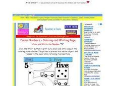 "Color and Write the Number ""5"" Worksheet"