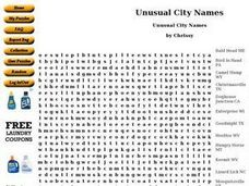 Unusual City Names Worksheet