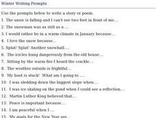 Winter Writing Prompts Worksheet