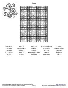 Candy word search Worksheet