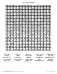 Word Search: Careers Worksheet