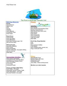 Pond Theme Unit Worksheet