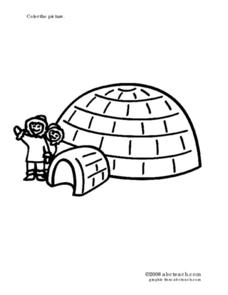 Igloo Coloring Sheet Worksheet