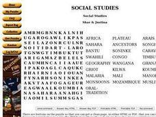 Social Studies, Africa word search Worksheet