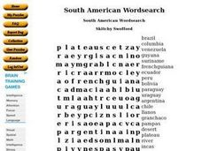 South American Wordsearch Worksheet