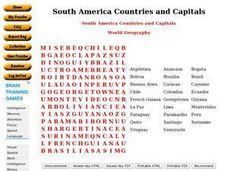 South America Countries and Capitals Worksheet