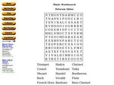 Music Wordsearch Worksheet